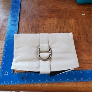 SET of 2 Smooth Leather Clutches Cream & Black